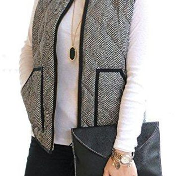 Quilted Herringbone Puffer Vest with Zipper