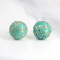 marble stud earrings, fake plugs, sterling silver plated, teal, gold foil, bohemian, boho chic
