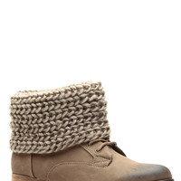 Taupe Faux Suede Knit Fold Over Lace Up Boots