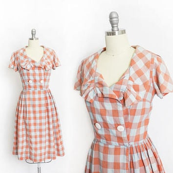 Vintage 1950s Shirt Waist Dress - Plaid Cotton  Coral & Robins Egg Blue Full Skirt Day Dress - Medium