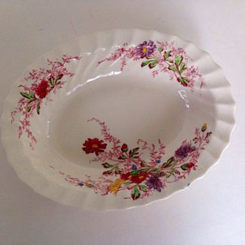 "Vintage Spode China- Oval Vegetable Dish-Ferry Dell Pattern-9 1/2""-England-Multicolor Floral Sprays-Swirl Rim-Replacement China-Copeland"