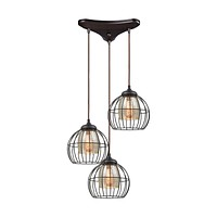 Yardley 3-Light Triangular Pendant Fixture in Oil Rubbed Bronze with Mercury Glass and Wire Cages