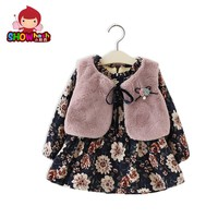 SHOWHASH Autumn Baby Children Girls Dress Fur Vest Plus Thick Velvet Princess Dress Long Sleeved Party Floral Dresses XA1239