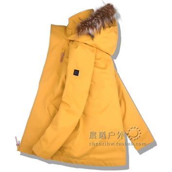 2018 GSOU SNOW Women Ski Jacket Snowboard Jacket Winter Clothing Windproof Waterproof Fur Outdoor Sport Wear Female Coat Thicken