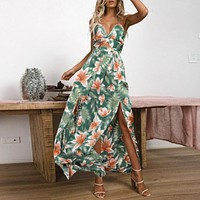 Printed Lace up Party Maxi Dress Women Backless Split Spaghetti Strap Sexy Dress Sexy Empire V Neck Long Dress