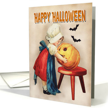 Girl with Pumpkin and Bats for Vintage Halloween card