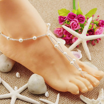Ladies Gift Jewelry Shiny Stylish Cute Sexy New Arrival Hot Sale Summer Pearls Stretch Anklet [6768802823]