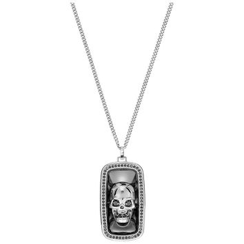 Swarovski Black Jet Hematite Crystal Men's Necklace FRAN Skull Pendant LARGE #5236090