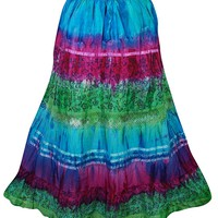 Mogul Interior Womens Tie Dye Skirt Blue Pink Green Peasant Skirts S/M: Amazon.ca: Clothing & Accessories