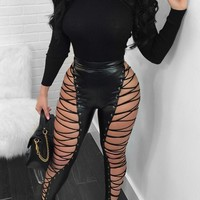 Black Cut Out Lace-up Faux Leather High Waisted Clubwear Long Pants