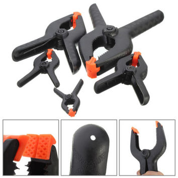 1Pc Black Plastic Nylon Spring Clamps Set for Jaw Opening Craft Paper Photo Backdrop Background Woodworking Tools 5Sizes
