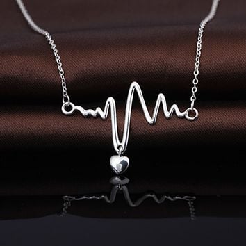Heartbeat Lifeline Pulse Pendant Necklace  - 925 Sterling Silver