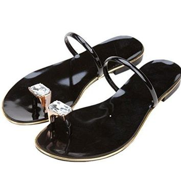 Royou Yiuoer Women's Patent Leather Shiny Crystal Flats Toe-ring Wedding Sandals-Black-38