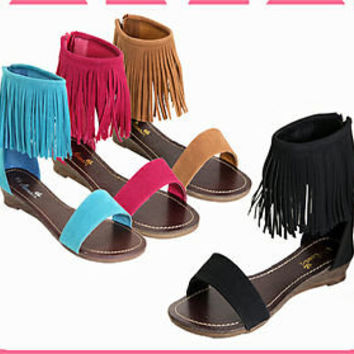 Womens Sandals Gladiator Ankle Fringe Sandal Faux Suede Black Tan Teal Fuschia