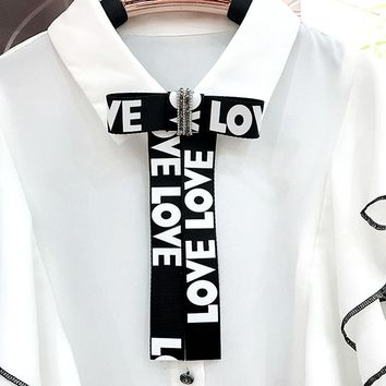Free Shipping Korea New female woman lady same paragraph Bow tie collar Long letter Ribbon Brooch Pin shirt Accessories brooch