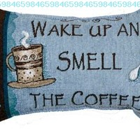 """""""Wake Up and Smell the Coffee"""" Decorative Throw Pillow 9"""" x 12"""":Amazon:Home & Kitchen"""