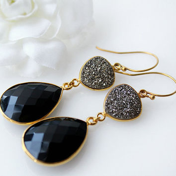 Black Onyx Druzy Double Drop Earrings, Black Diamond Titanium Druzy,  Genuine Onyx Dangle, Jet Black, Long Black Grey Earrings, Mother's Day