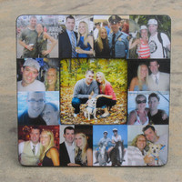 """Unique Engagement Gift, Personalized Engagement Picture Frame, Custom Photo Collage Picture Frame, Wedding Gift, Parent Gift, 8"""" x 8"""""""