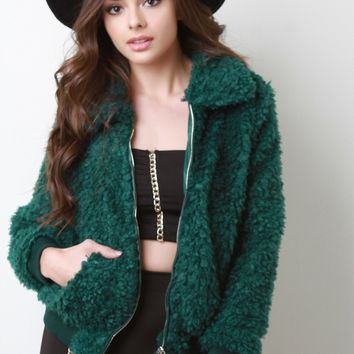 Shaggy Faux Fur Zip-Up Bomber Jacket