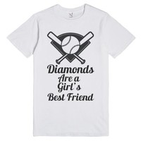 Diamonds are a Girls best friend-Unisex White T-Shirt