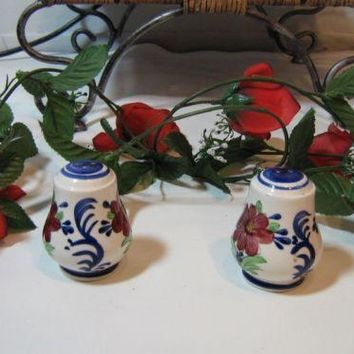 Beautiful Vintage Cobalt Blue and Cream burgundy Floral Salt & Pepper Shaker Shakers Set