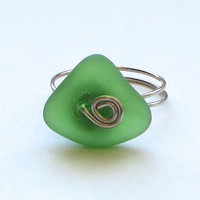 Sea Glass Ring Kelly Green Genuine Custom Sizes