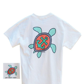 Bjaxx Chevron Sea Turtle Anchor Southern Girlie Bright T Shirt