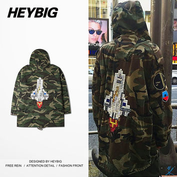 Rocket Camouflage men Overcoat Hooded embroided Jacket 2016 A/W latest Camo Hip-hop Oversized Trench Military Jacket Baggy Coat