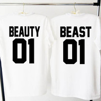 Beauty Beast shirts, Couples shirts, Beauty Beast 01, Couple shirts, custom numbers, partner shirts,