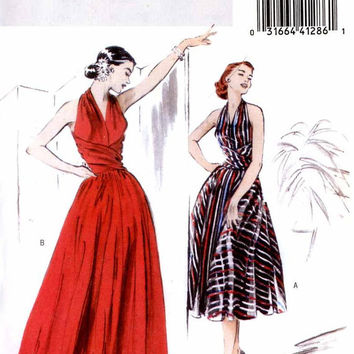 Retro 1952 Rockabilly dress and evening gown sewing pattern Butterick 4919 Bust 34 to 38 Re issue of 1952 dress pattern Sz 14 to 20