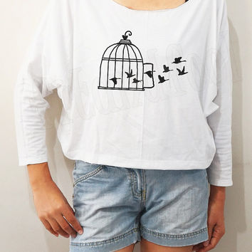 Cage TShirts Bird Cage Shirts Bird Shirts Animal Shirts Bat Sleeve Shirts Crop Tee Long Sleeve Oversized Sweatshirt Women Shirts - FREE SIZE