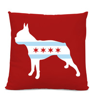 Chicago Flag Boston Terrier Pillow - Chicago Home Decor - Boston Terrier pillow - dog breed silhouette pillow - dog home decor - Dog Pillow