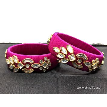 Silk Thread kundan stone work Pair Bangle