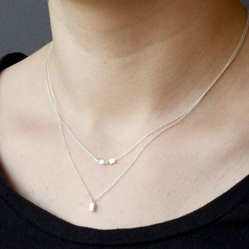 Sterling silver minimalist layered necklace