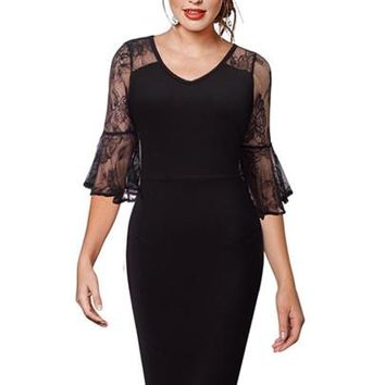 Bell Sleeve Lace Patchwork Women's Pencil Dress