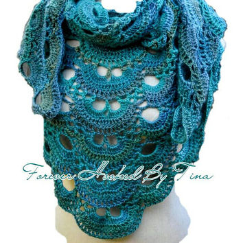 Day or Evening Shawl Wrap, crochet virus shawl