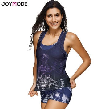 JOYMODE Women Tribal Printed Tankini With Boyshort Three Pieces Swimsuit Set Plus Size Bathing Suits Pad Swimwear Purple biquini