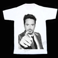 Robert Downey JR T-Shirt Movie Actor T-Shirt RDJ Shirt Rock T-Shirt Short Sleeves Tee Women T-Shirt Unisex T-Shirt White T-Shirt (S,M,L,XL)
