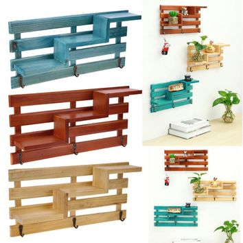 Eco-friendly Wall Mounted Wood Shelf Kitchen Bathroom Storage Rack Organizer