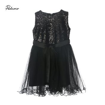 Fashion Kids Toddler Girl Sequins Princess Tulle Mesh Dress Baby Sleeveless Party Wedding Pageant Formal Dresses Clothes