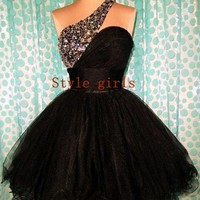 Black one shoulder Sweetheart Mini Prom Dress / Homecoming Dress