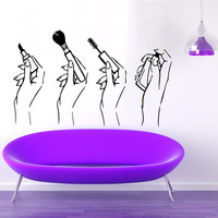 Beauty Salon Wall Decal Girl Hands Vinyl Sticker Manicure Decal Make up Art Murals Interior Design Bedroom Decor Lipstick Parfume Decal M708