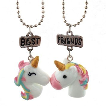 10 Pair/Lot Best Friend  Colorful Crystal Steed Horse Unicorn Pendant Necklaces Sweater Chain For Girl Woman Birthday gift