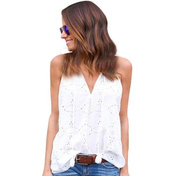 Cropped 2017 Women Casual Blouses Ladies Solid Sleeveless Summer Shirts Tops Women's V-Neck Hollow-Out Blouse White/Black #LH