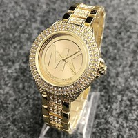 MICHAEL KORS New fashion diamond round edge and diamond watchband couple watch