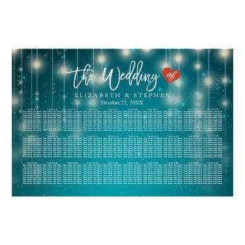 30+ Tables Wedding Seating Chart Blue String Light Poster