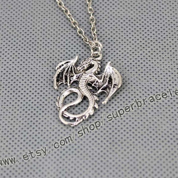 Pterosaurs necklace, Silver dragon necklace, necklace, rings Antique Silver necklace, express Personalized Jewelry, valentine's day gift