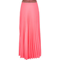 River Island Womens Pink pleated maxi skirt