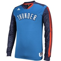 adidas Oklahoma City Thunder On-Court Shooter Long Sleeve T-Shirt - Light Blue/Navy Blue