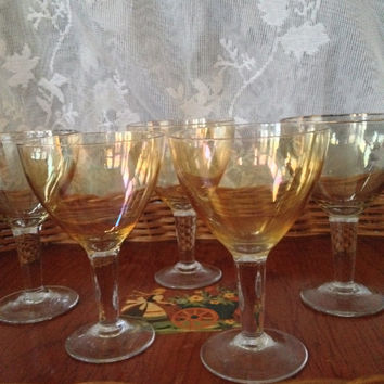 1950s Iridescent Liqueur Glasses, Hand Blown Crystal ,Tiny Cordials, Gold, Smoky Topaz, Gold Rims, Set of Five Vintage Mid Century Bar Stems